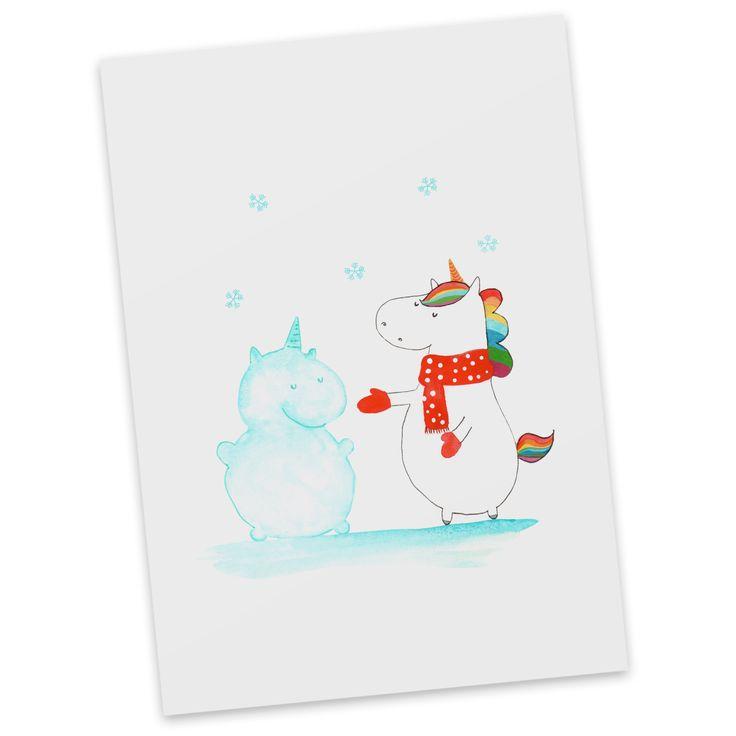 Postkarte Einhorn Schneemann aus Karton 300 Gramm  weiß - Das Original von Mr. & Mrs. Panda.  Diese wunderschöne Postkarte aus edlem und hochwertigem 300 Gramm Papier wurde matt glänzend bedruckt und wirkt dadurch sehr edel. Natürlich ist sie auch als Geschenkkarte oder Einladungskarte problemlos zu verwenden. Jede unserer Postkarten wird von uns per hand entworfen, gefertigt, verpackt und verschickt.    Über unser Motiv Einhorn Schneemann  Das Winter-Einhorn macht richtig Lust auf den…