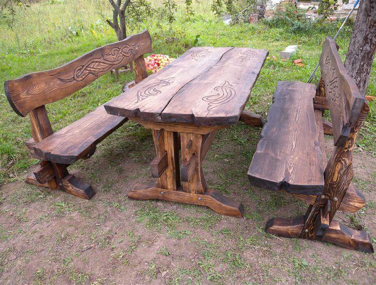 отделка стола под старину, стол из натурального дерева под старину, дизайн стола, стол в старении, стол с резьбой и старением