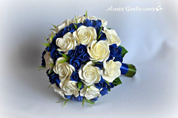 Bouquet da sposa blu fatto di argilla dell'aria di ShopotShop