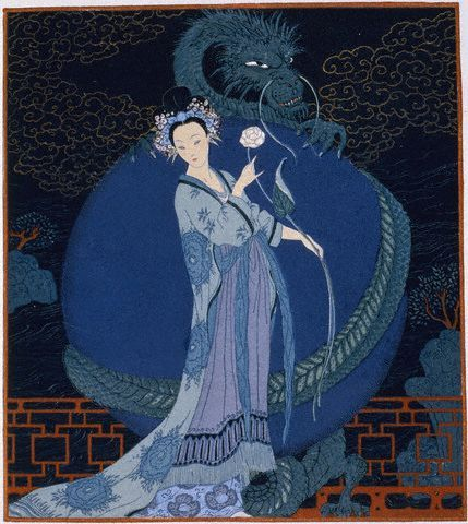 Georges Barbier, Lady With a Dragon, ca. 1920s by Gatochy, via Flickr