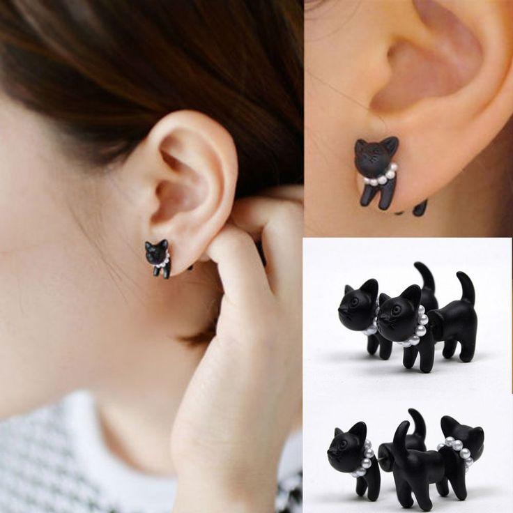 1Pcs New Fashion Lovely Cute Pearl Leopard Cat Ear Stud Piercing Earring hiy #Unbranded #Stud
