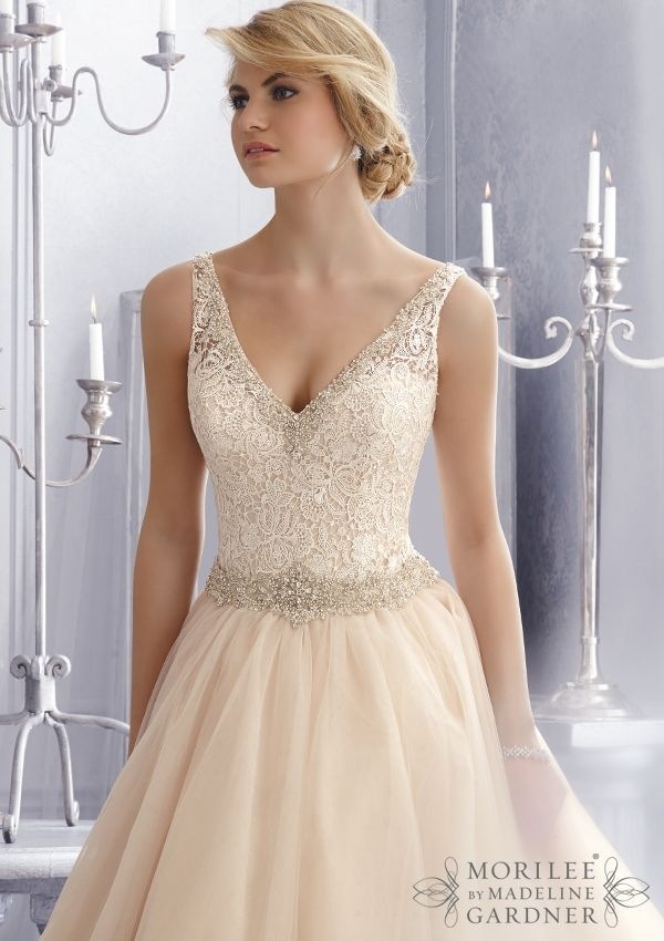 Wedding Gowns by Morilee featuring 2684 Crystal Beaded Embroidery Trims Venice Lace on this Tulle Wedding Gown Colors Available: White/Silver, Ivory/Silver, Caramel/Silver. Sizes Available: 2-28.