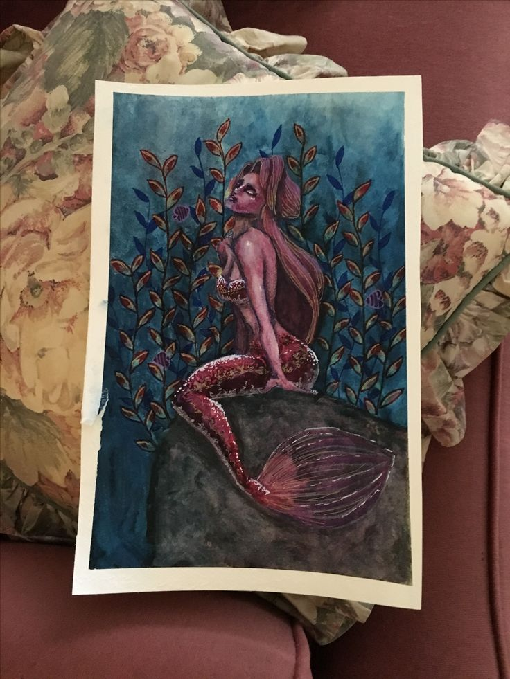 Mermaid. Watercolour painting by artist Lisa brett @woolybutt.designs