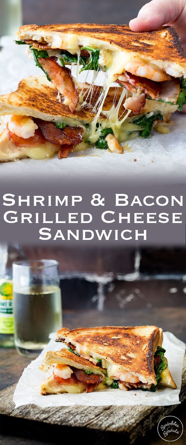 Is there anything more comforting that a grilled cheese sandwich??? And this shrimp and bacon grilled cheese sandwich takes the humble grilled cheese up a level! #SundaySupper  This is a gourmet grilled cheese sandwich!