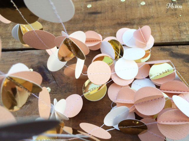 3D Peach, Gold Foil & White Confetti Garland