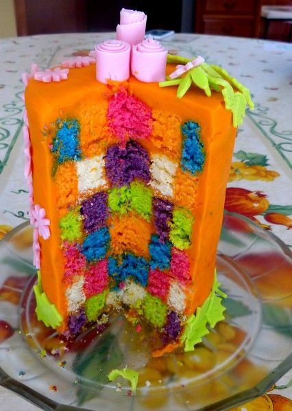 Intérieur cake damier multicolore