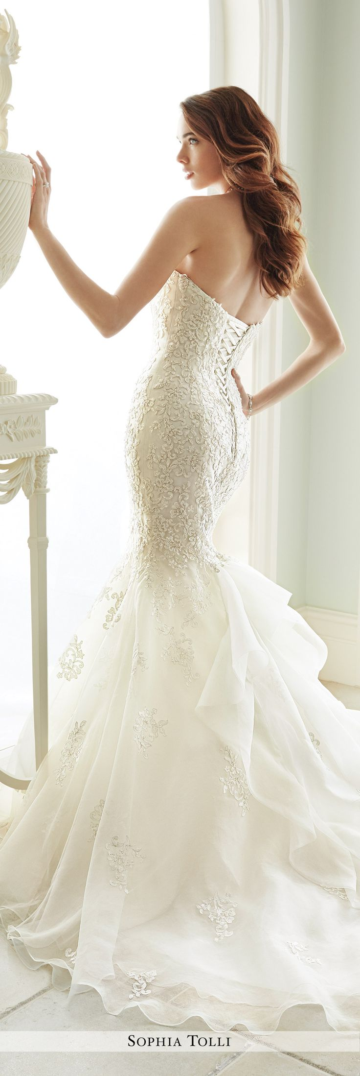 Sophia Tolli Fall 2016 Wedding Gown Collection - Style No. Y21664 Vittoria - strapless lace trumpet wedding dress