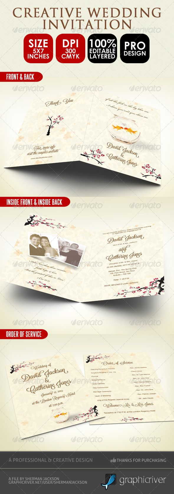 free wedding invitation psd%0A Creative Wedding Card  u     Order of Service PSD
