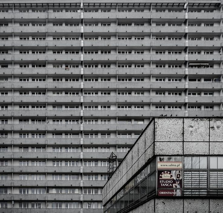 """arch-and-shit: Maciek Lulko Superjednostka (""""Super Unit""""), the biggest housing estate in Poland, Katowice, Mieczysław Król, 19..."""