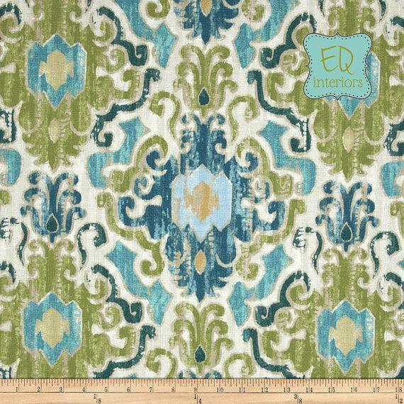 "Like this color combo...Custom Designer Draperies: Torol Damask Ikat in Capri Blue Green 108""L x 50""W"