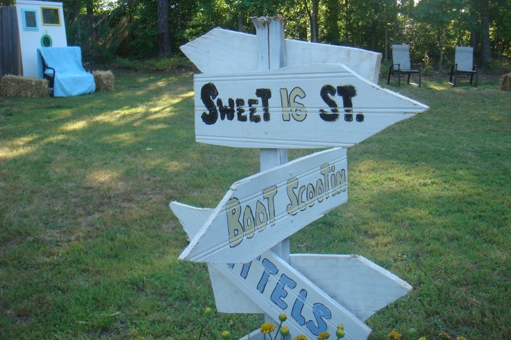 sweet 16 country chic theme direction sign.