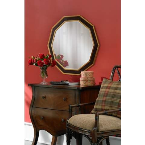 "Kircher Wood 36"" x 36"" Brown Wall Mirror - #5N200 | LampsPlus.com"