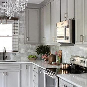 Gray KItchen with Gray Marble Backsplash Tiles