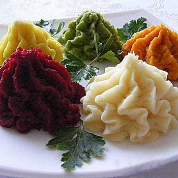 Разноцветное пюре из картофеля