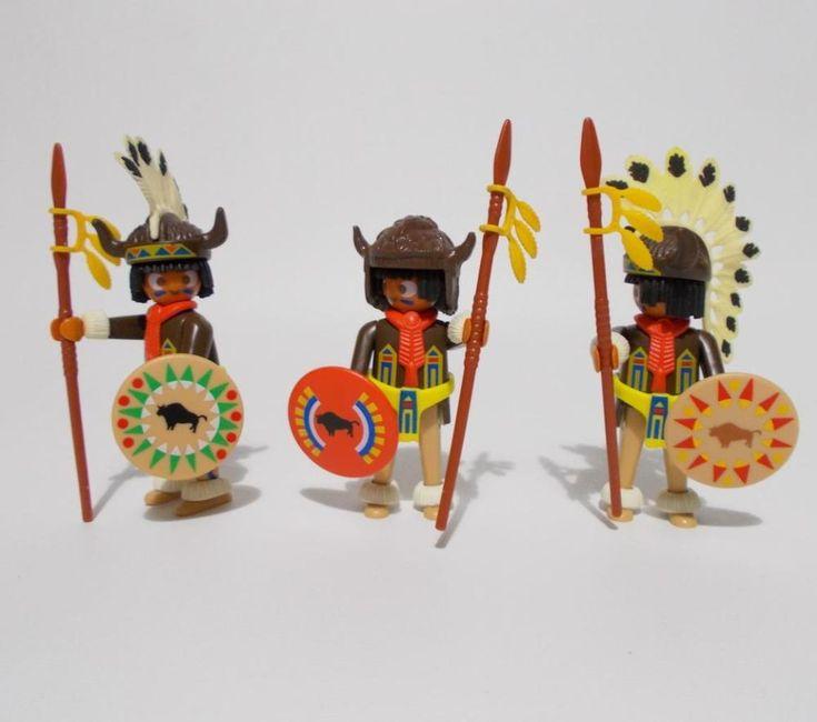 Playmobil Indian Buffalo Rain Dance Warrior Figures 3732 #PLAYMOBIL