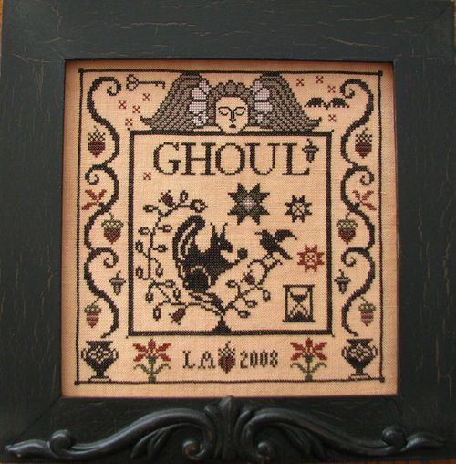 Ghoul Halloween cross stitch pattern by Plum Street Samplers at thecottageneedle.com October 31 cemetery tomb hand embroidery by thecottageneedle