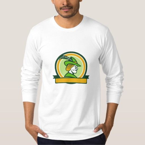 Robin Hood Side Ribbon Circle Retro Shirt. Illustration of a Robin Hood wearing medieval hat with a pointed brim and feather viewed from side set inside circle with ribbon on isolated background done in retro style. #Illustration #RobinHoodSideRibbon