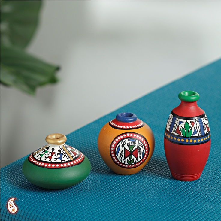 Multicoloured Terracota Vase Set Home Decor Pinterest Vase Crafts Painted Pots And Wooden
