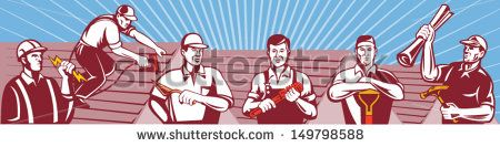 Illustration of home improvement professionals showing an electrician, roofer ,construction worker roofing ,tiler,plasterer,masonry worker,plumber, gardener, landscaper builder carpenter retro style. #constructionworkers #laborday #retro #illustration