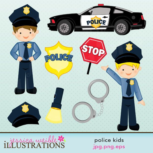Police Kids set comes with 8 graphics including : 2 police boys, a police car, a stop sign, a police badge, a pair of handcuffs, a flashlight and a police hat