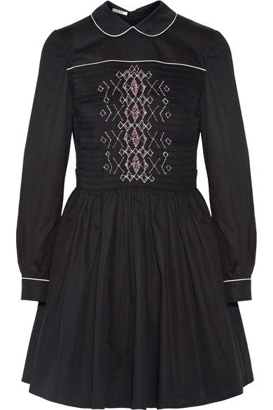 Miu Miu - Smocked Embroidered Cotton Mini Dress - Black - IT46