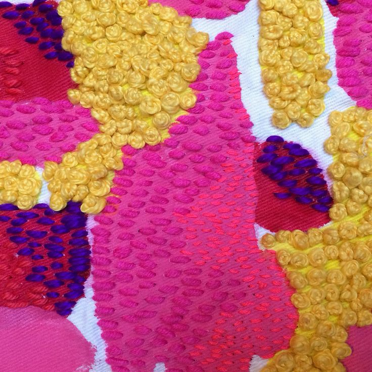 Detail of hand embroidered and painted fabric by liz payne