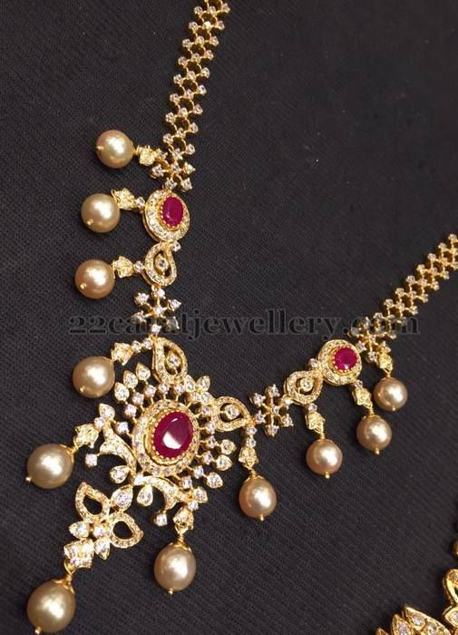 Jewellery Designs: 32 Grams CZ Ruby Necklace