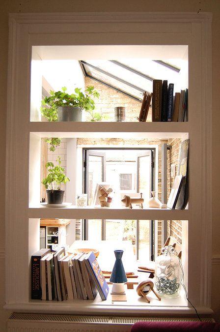 Green Tea Architects | Side Return Extension, Brockley. shelving room divider detail