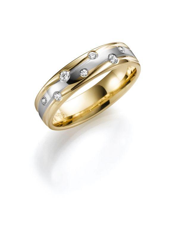 14K trouwring geel/wit met diamant Clematis Dames