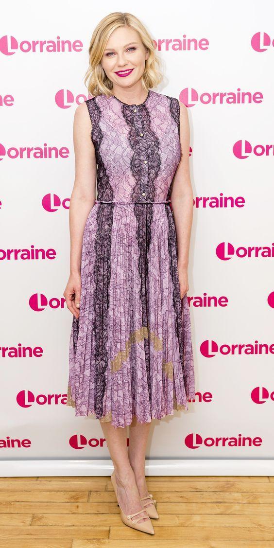 kirsten dunst on the set of Lorraine