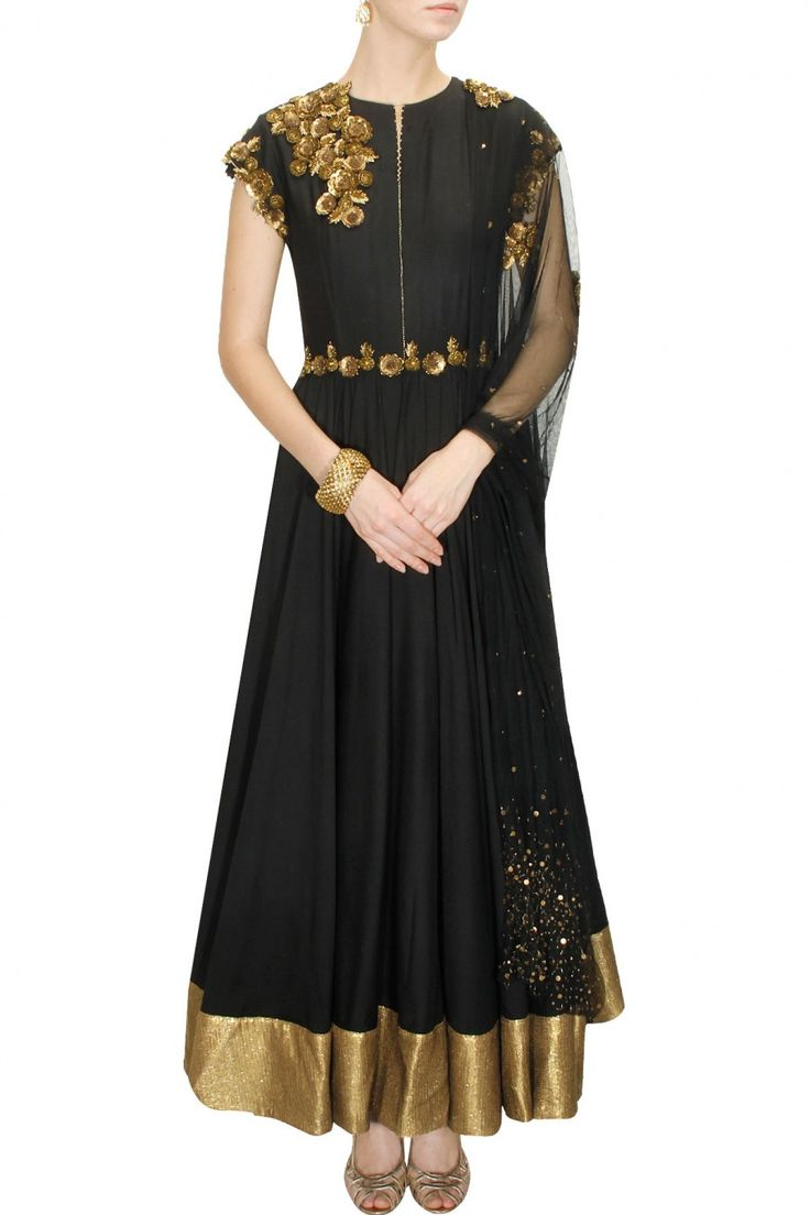 DECCAN DREAMS - Black antique floral embroidered anarkali with black sequins net dupatta by Pranthi Reddy #new #designer #fashion #couture #shopnow #perniaspopupshop #happyshopping