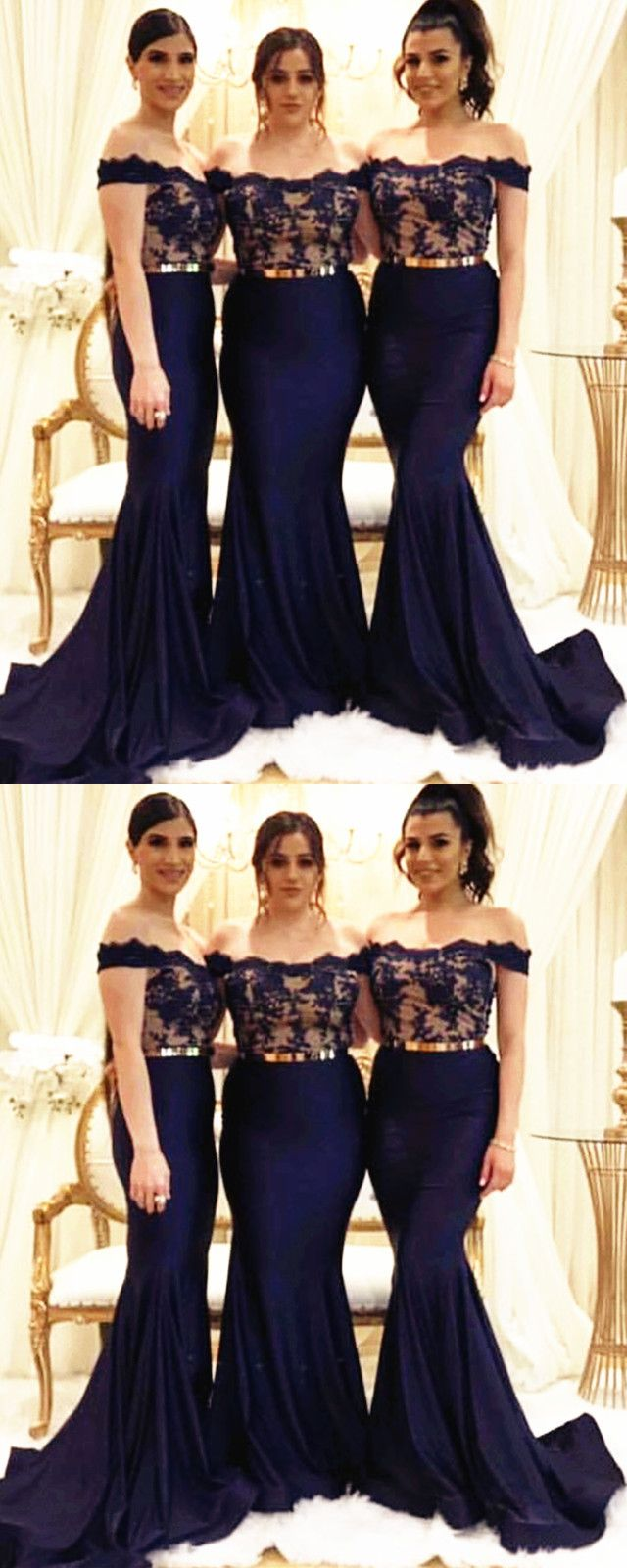 Lace Appliques Mermaid Bridesmaid Dresses With Gold Belt Mermaid Bridesmaid Dresses Short Lace Bridesmaid Dresses Long Navy Blue Bridesmaid Dresses