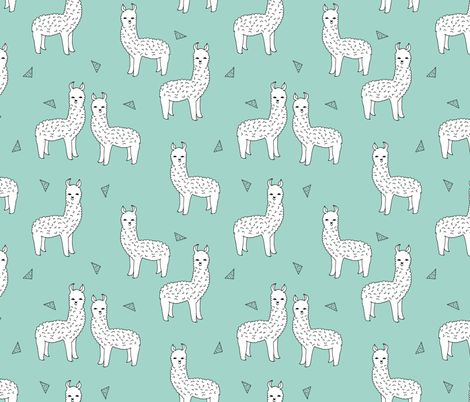 Alpaca Mint White By Andrea Lauren Llamas With Triangles