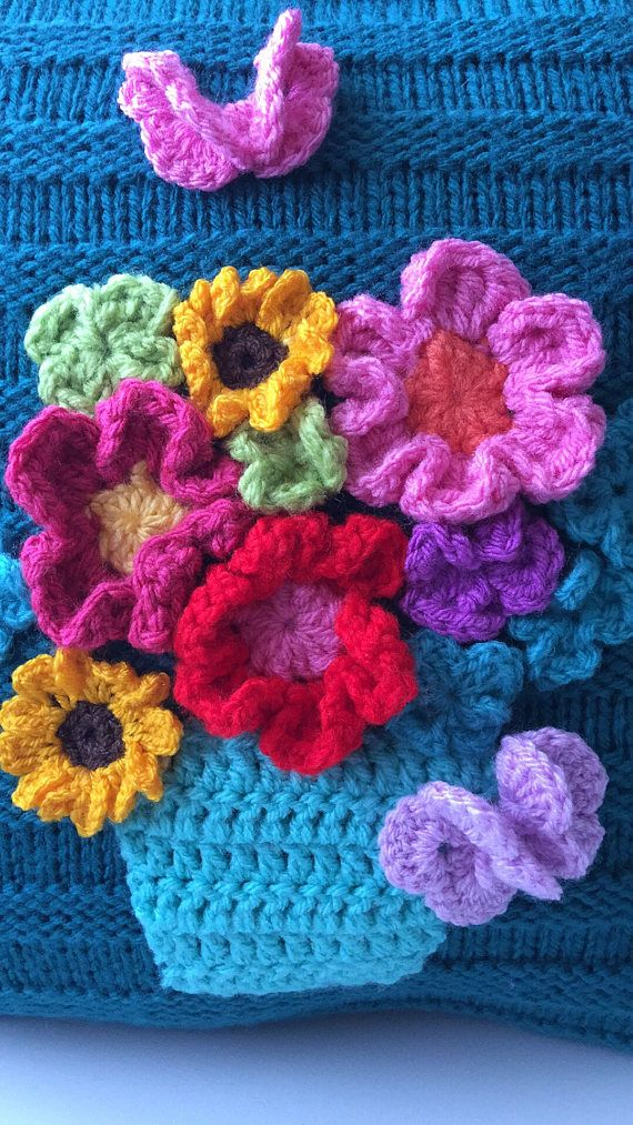 Knitted cushion couch pillow crochet pot of flowers