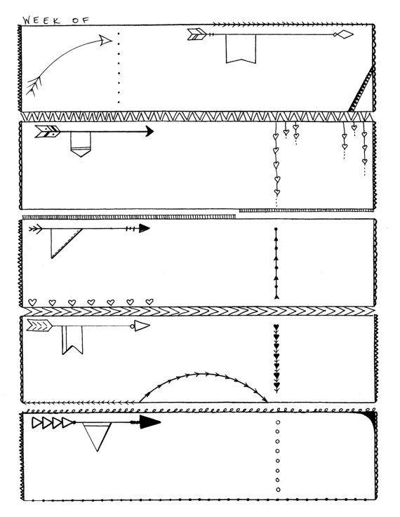 Proiettile Gazzetta Planner stampabile pagine  cuori N