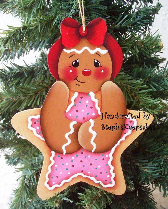Handpainted Wooden  Christmas Gingerbread  by stephskeepsakes, $7.75