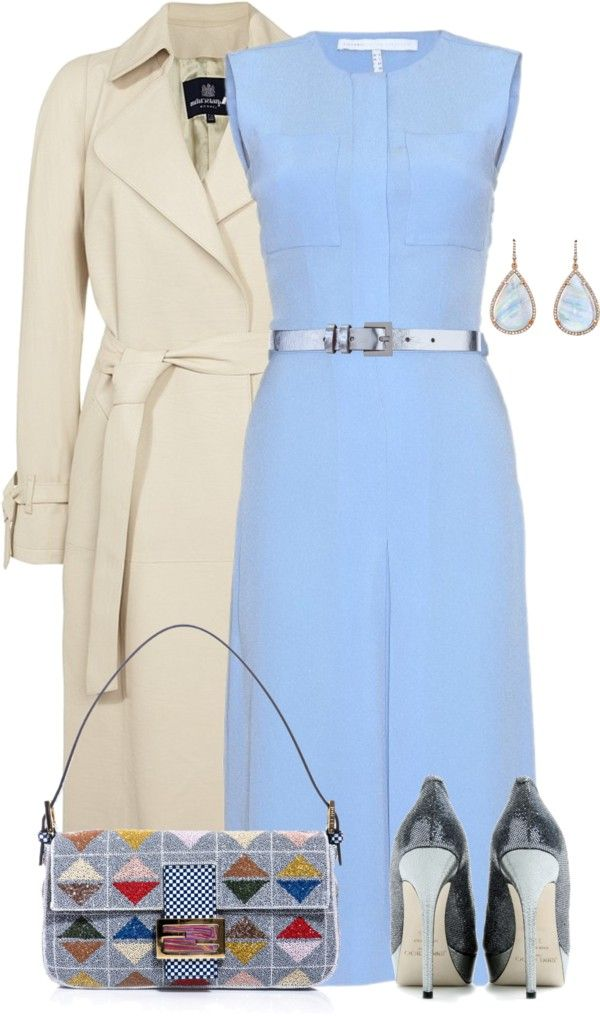 "Navy Baby Blue Beige Outfit""Victoria Beckham Dress"" by yasminasdream ❤ liked on Polyvore"