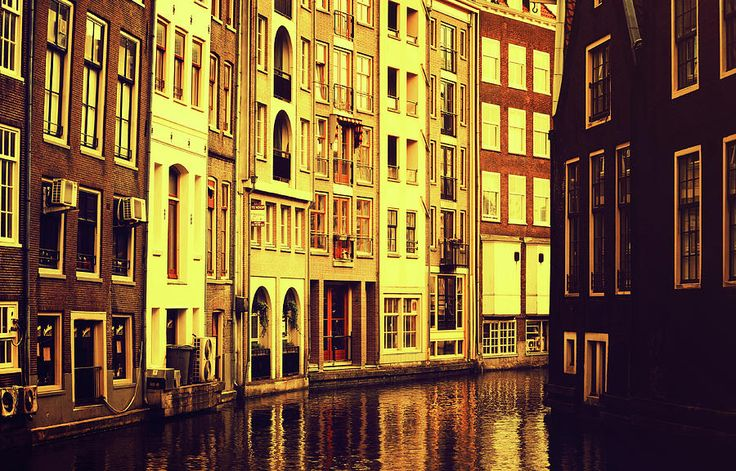 Golden Hour In Amsterdam by Jenny Rainbow.  #JennyRainbowFineArtPhotography #Amsterdam #Netherlands #Holland #FineArtPrints #ArtForHome #HomeDecor #Reflections