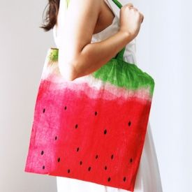 DIY Watermelon tote bag. How to dye a cotton bag .