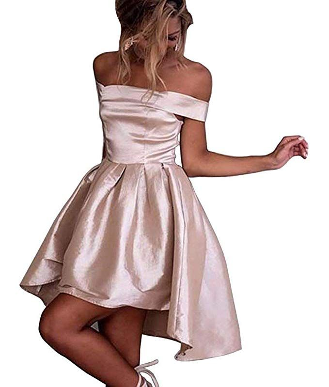 13f9642e42e Dressylady Champagne Off-Shoulder High Low Prom Party Homecoming Dress at Amazon  Women s Clothing store
