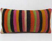 Kilim Pillow Lumbar cushion cover orange pink green decorative sofa pillow retro home decor kilim cushion cover crochet pillow cover 22774