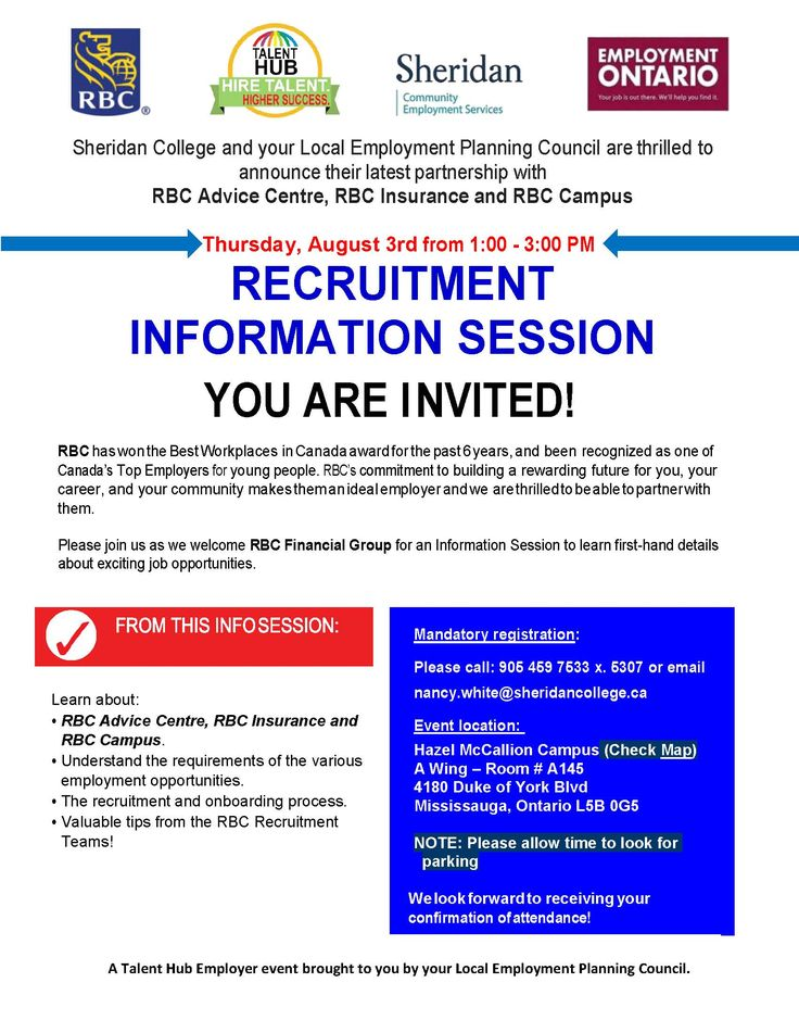 Live in the Mississauga area and looking for work? Next Thursday August 3rd, stop by the Recruitment Information Session presented by RBC, Sheridan College, and Employment Ontario. Learn all about the recruitment process and what employers are truly looking for! RSVP 905-459-7533 ext.5307 #jobs #employment #careers #T_C_E_T