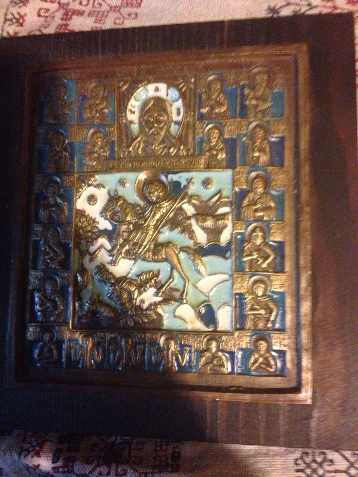 Купить Икона святого Димитрия Солунского - икона, дмитрий солунский, православие, церковь, подарок, винтаж