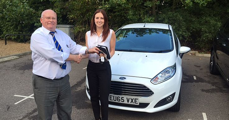 Kirsten Woodwards looks pretty pleased with her new #65Plate Ford Fiesta Zetec handed over by our ever-jolly John.