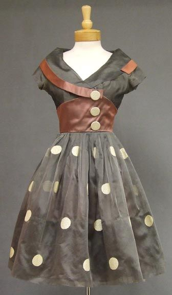 Unusual grey organdy and mauve satin 1950's cocktail dress.