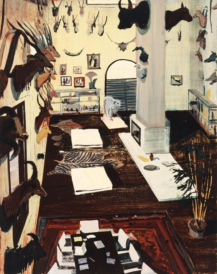 Jules de Balincourt  Untitled (Hunting Room), 2007, Oil on panel, 17x13.5in (43.2x34.3cm