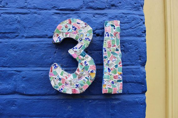 31 London House Number Colourful Tile Collage Number Modern