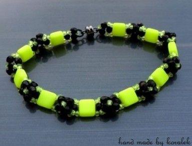 Tile beads, firepolished beads - bracelet
