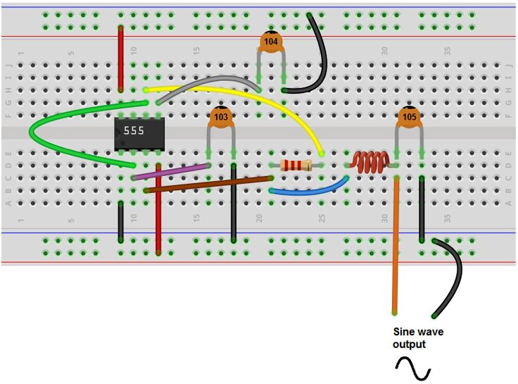 Sine wave generator breadboard circuit with a 555 timer in 2019   Sine wave  Waves  Electrical