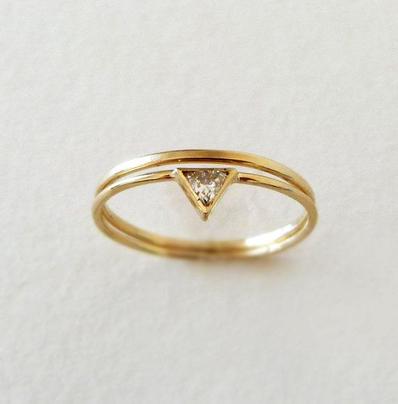 Trillion de diamant bague de mariage ensemble - or 14 k